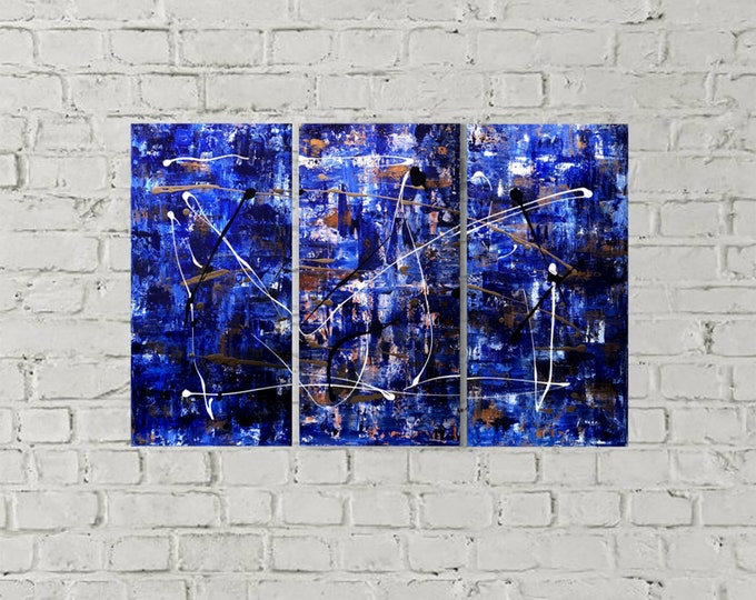 Triptych acrylic abstract made on canvas.