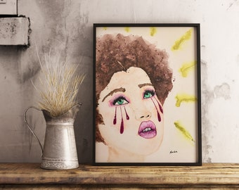 Original watercolor, woman portrait, watercolor portrait, 9x12, canvas panel, expressive painting, green eyed girl, tears emotions