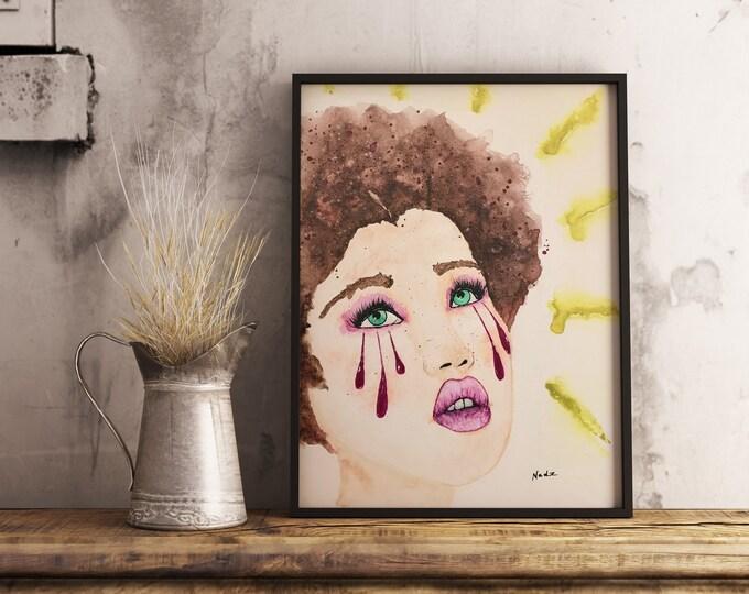 Original watercolor, woman portrait, watercolor portrait, 9x12, canvas panel, expressive painting, green eyed girl, tears emotions