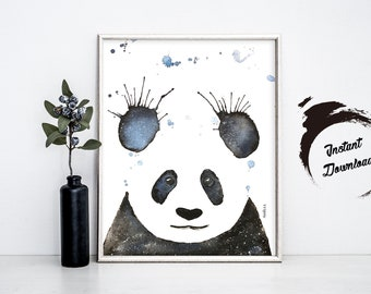 PANDA watercolor, Instant Download in JPEG file