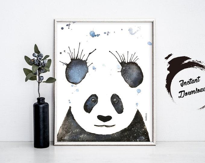 PANDA watercolor, Instant Download in JPEG file