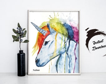 Unicorn watercolor INSTANT DOWNLOAD in JPEG file