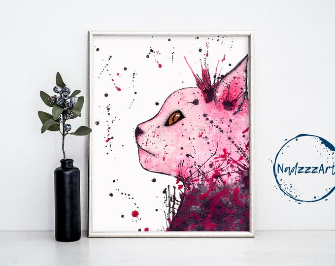 Pink Cat Watercolor Print