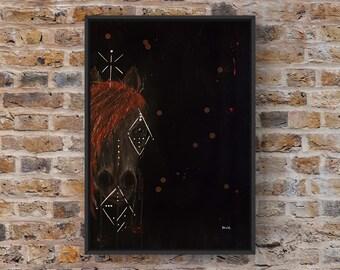 Cheval abstrait, acrylique sur canvas.