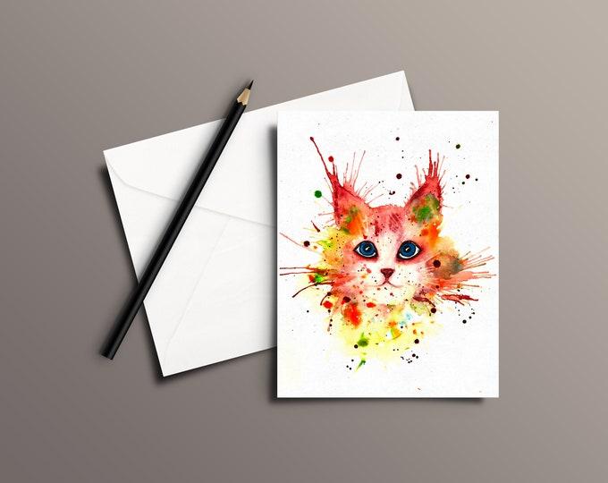 CAT Watercolor Greeting Card