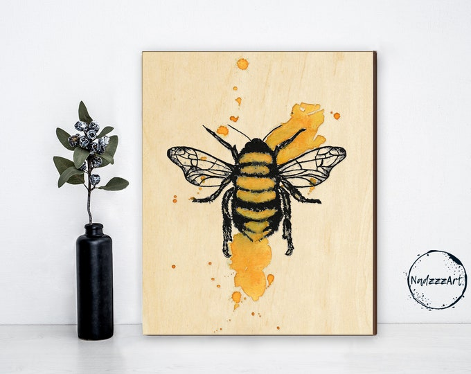 Watercolor on wood ABEILLE