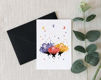 Flowers and Moons Watercolor Greeting Card