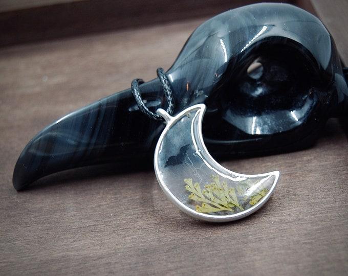 Moon Pendant + Bat / Moon Resin Collar