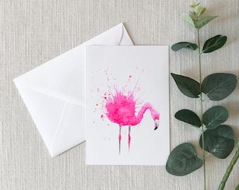 Pink Flamingo Watercolor Greeting Card