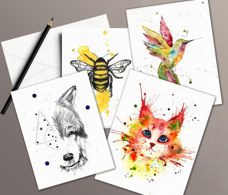 4 watercolor cards bundle. image 1