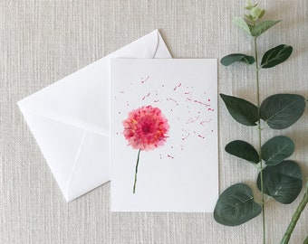 PINK FLOWER Watercolor Greeting Card
