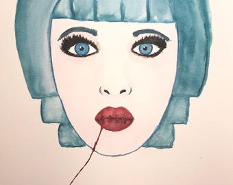 Original watercolor, abstract portrait, 11x14 made on watercolor paper.