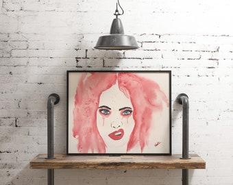 Original watercolor, woman portrait, 9x12 on watercolor paper 140lbs