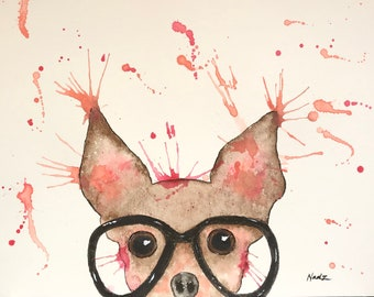 Original watercolor, chihuahua, dog, 9x12 made on watercolor paper 140 lbs.