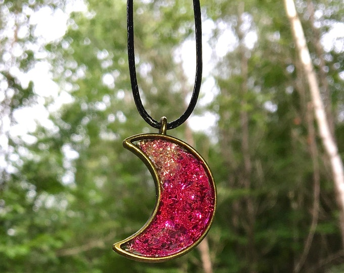 Pink Moon Pendant / Moon Resin Necklace