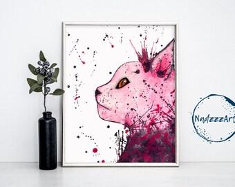 Pink Cat Watercolor Print