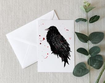 Crow Watercolor Greeting Card