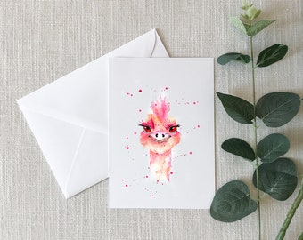Ostrich Watercolor Greeting Card