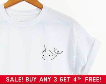 7059d08048 Cute Narwhal Pocket shirt - Cute shirt, cute graphic tee, pocket tee, cute graphic  tee, narwhal, mermaid, narwhal shirt, hipster