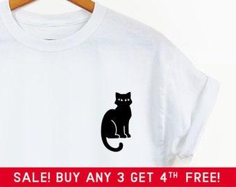 3181ae4157 Black Cat Pocket shirt - Cute shirt, cute graphic tee, pocket tee,  Halloween shirt, cat shirt cat tee, black cat shirt, cute Halloween shirt