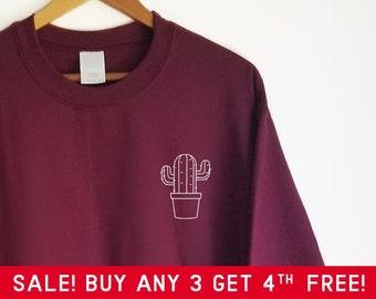 Cute Cactus Pocket Sweatshirt - Cute shirt 29a68693318