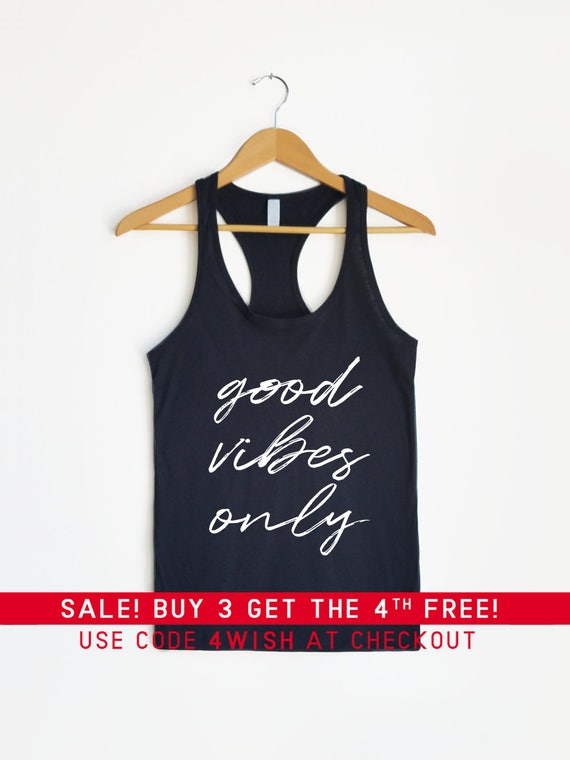 detailed images preview of exquisite design Good Vibes Only Tank - Tank Top, Racerback Tank, Good Vibes Tee, Gym Shirt,  Workout Shirt, Yoga Shirt, Running shirt, Fitness, Mom life