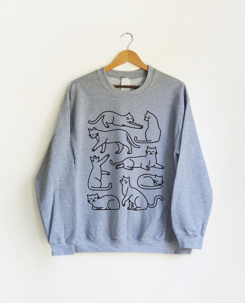 Cat Box Sweatshirt  Cat Shirt Graphic Tee Cat Mom Cat image 0