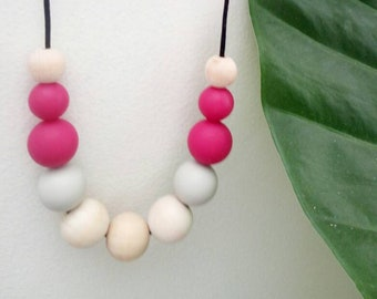 Pink and grey silicone and wood beaded necklace. Mum gift. Sister gift. Beaded necklace