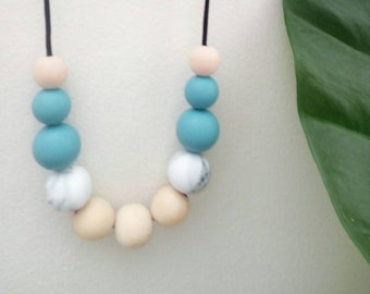 Teal and marble silicone and wood beaded necklace. Mum gift. Sister gift. Beaded necklace