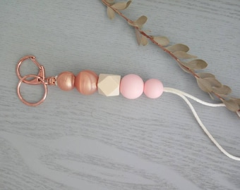 Pink and rose gold silicone and wood beaded lanyard. ID holder, teacher lanyard, breakaway clasp