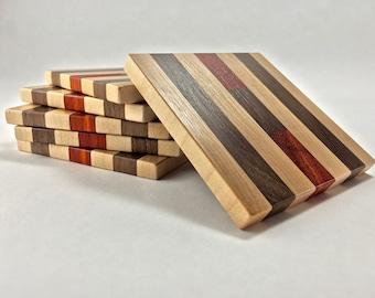 Hardwood Coaster Set - Maple, Walnut, Purple Heart, Paduak