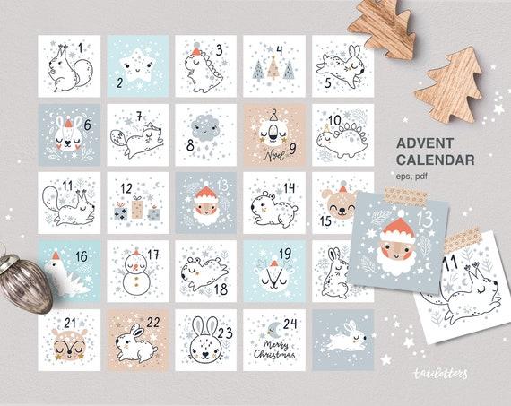 Advent calendar printable Christmas countdown Christmas tags
