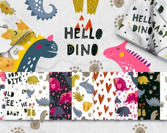 Dinosaur Digital Paper Pack with cute Dino, Scrapbook Papers Children seamless patterns, Dinosaur background Vector patterns for boy or girl