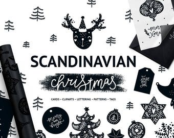 Christmas clipart Monochrome Digital paper Christmas tags Scandinavian style Christmas cards Black and white Minimalist art Instant download
