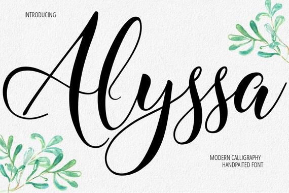 digital font calligraphy handwritten script wedding watercolor etsy
