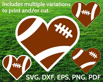 Football Heart SVG designs - Football Love SVG cut files for Cricut & Silhouette - Football SVG clipart