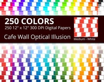 Cafe Wall Optical Illusion Digital Paper Pack, 250 Colors Digital Paper Illusion Scrapbooking Paper, Rainbow Optical Illusion Background