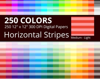 250 Horizontal Stripes Digital Paper Pack with 250 Colors, Rainbow Colors Medium Light Horizontal Stripes Pattern Scrapbooking Paper