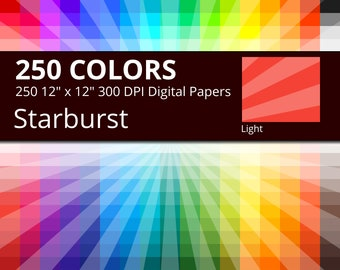 250 Tinted Sunburst or Starburst Digital Paper Pack with 250 Colors, Rainbow Colors Light Starburst Sun Rays Pattern Scrapbooking Paper
