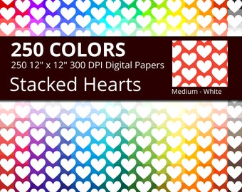 250 White Hearts Digital Paper Pack with 250 Colors, Rainbow Colors Medium White Heart Pattern Scrapbooking Paper Download