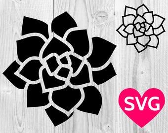 Succulent SVG file, Succulent Clipart, Succulent DXF, Succulent PDF, Succulent Printable, Succulent Cricut Silhouette cut file, Cactus svg