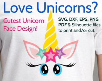 Cutest Unicorn Face SVG Design to Print or Cut with Cricut & Silhouette, Cute Unicorn Head with Eyes, Eyelashes, Stars, Unicorn clipart file