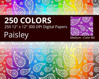 Paisley Digital Paper Pack, 250 Colors Floral Digital Paper Paisley, Medium Seamless Paisley Digital Background, Paisley Flower Pattern