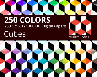 Black & White Cubes Digital Paper Pack, Rainbow Colors Digital Paper Cubes, Geometric Digital Paper Cube Pattern, Cube background