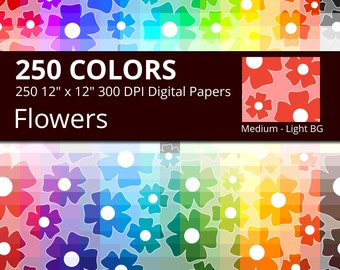 Floral Digital Paper Pack, 250 Colors Flowers Digital Paper Floral in Rainbow Colors, Flower Digital Background, Digital Flower Backdrop