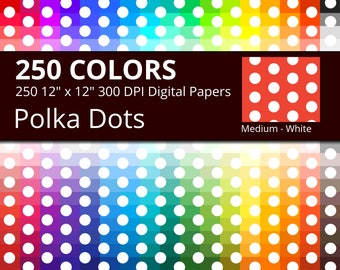 250 White Polka Dots Digital Paper Pack with 250 Colors, Rainbow Colors Medium White Polka Dots Pattern Scrapbooking Paper Download