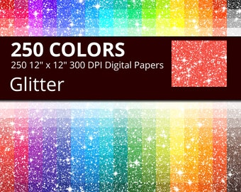 250 Glitter Digital Paper Pack with 250 Colors, Rainbow Colors Glitter and Sparkle Texture with Sparkles Pattern Scrapbooking Paper Download