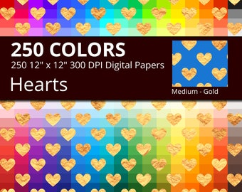 250 Golden Hearts Digital Paper Pack with 250 Colors, Rainbow Colors Gold Heart Pattern Digital Scrapbooking Paper