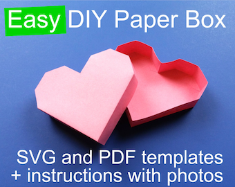 Valentine's Day DIY Heart Paper Box Template PDF for hand cutting + SVG for Cricut & Silhouette, 3D Papercraft box with lid,  Valentine svg