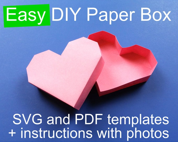 Featured listing image: Valentine's Day DIY Heart Paper Box Template PDF for hand cutting + SVG for Cricut & Silhouette, 3D Papercraft box with lid,  Valentine svg
